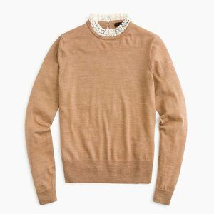 J. Crew Tippi Wool Sweater with Lace Collar